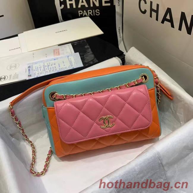 CHANEL Small camera bag lambskin & Gold-Tone Metal AS1367 Pink&orange&green