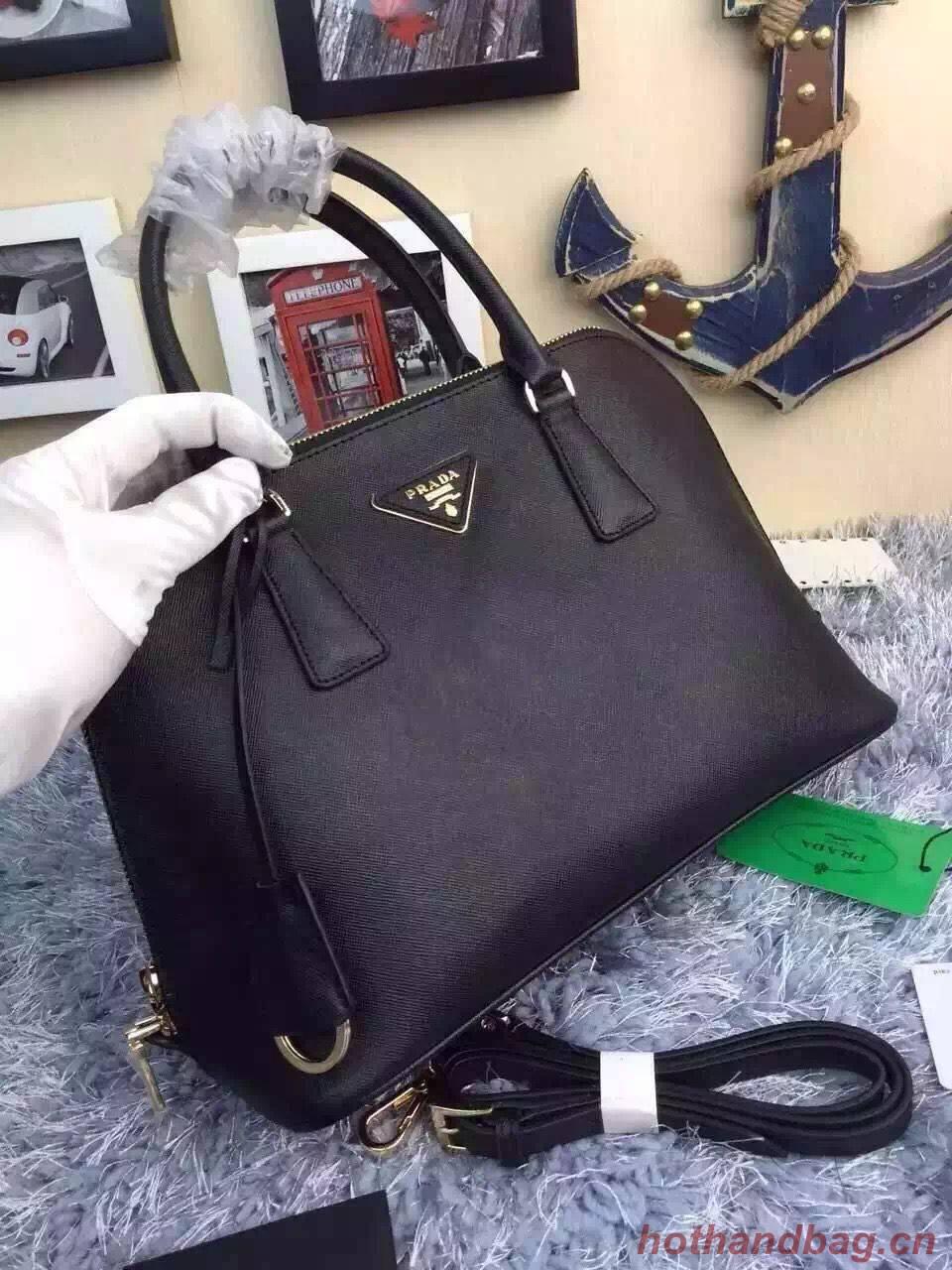 Prada Original Leather Medium Shell Bag P0837 Black