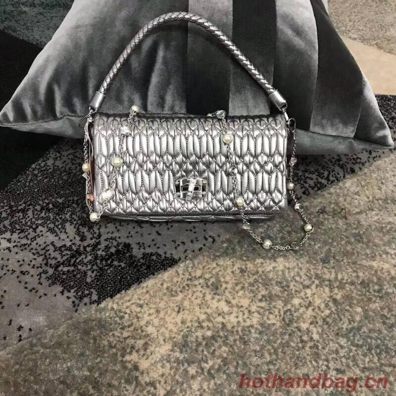 miu miu Matelasse Nappa Leather shoulder bag 5BD140G Silver