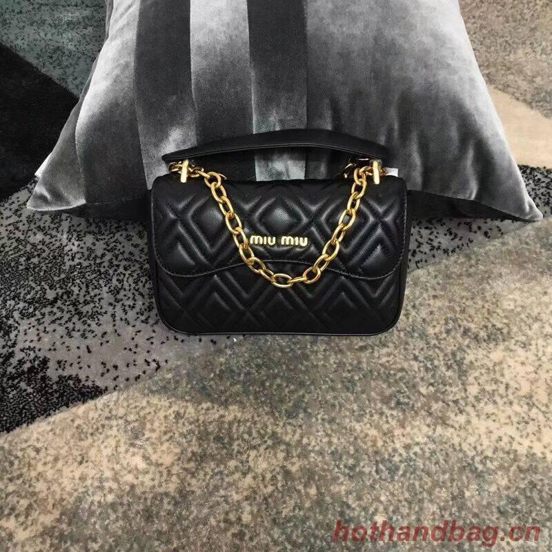 miu miu Matelasse Nappa Leather shoulder bag 5BD140G black