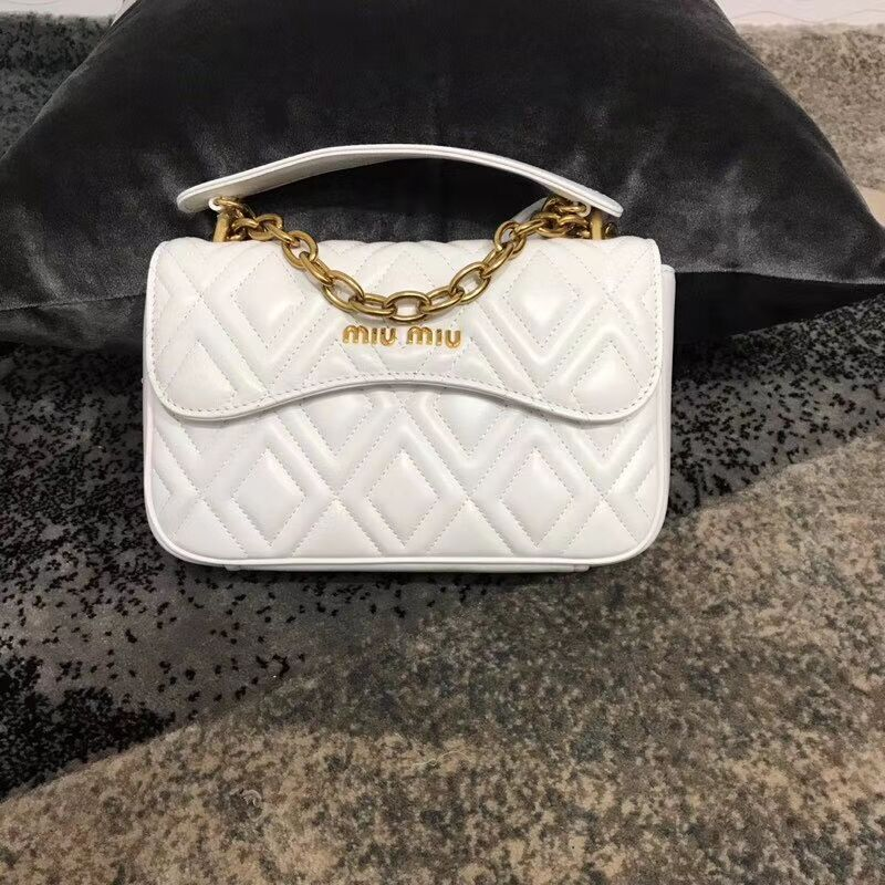 miu miu Matelasse Nappa Leather shoulder bag 5BD140G white