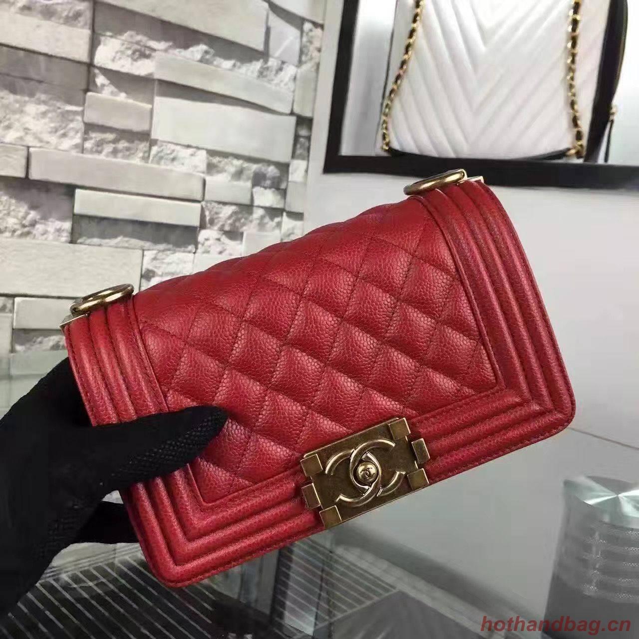 Chanel Le Boy Flap Shoulder Bag Original Cavier Leather A67085 Red Gold Buckle