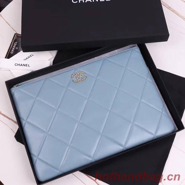 CHANEL 19 Sheepskin Original Leather Carry on bag AP0952 light blue