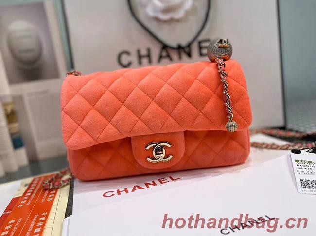 Chanel Original Small velvet flap bag AS1792 orange