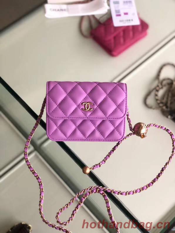 Chanel Sheepskin Original Leather Pocket P0146 Lavender