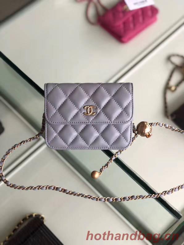 Chanel Sheepskin Original Leather Pocket P0146 grey