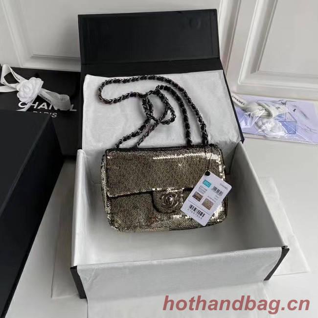 Chanel Original flap bag Sequins&sheepskin AS1448 grey