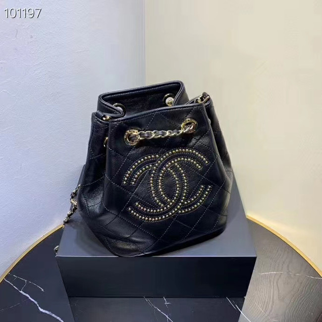 CHANEL Calfskin small Backpack & gold-Tone Metal AS1614 black