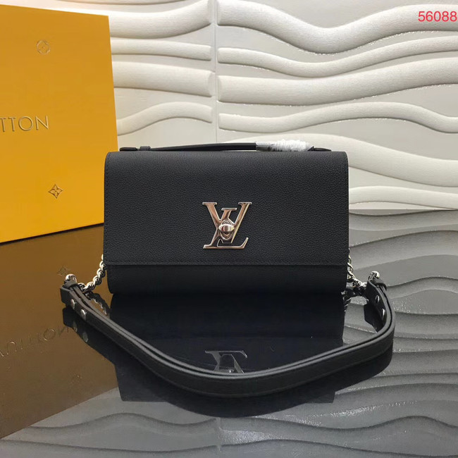 Louis Vuitton Original Grain calfskin LOCKME CLUTCH M56087 black