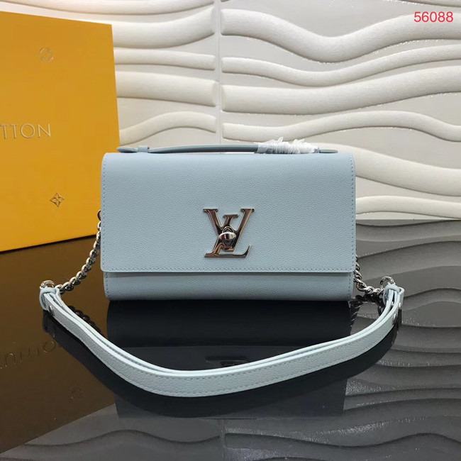 Louis Vuitton Original Grain calfskin LOCKME CLUTCH M56087 sky blue