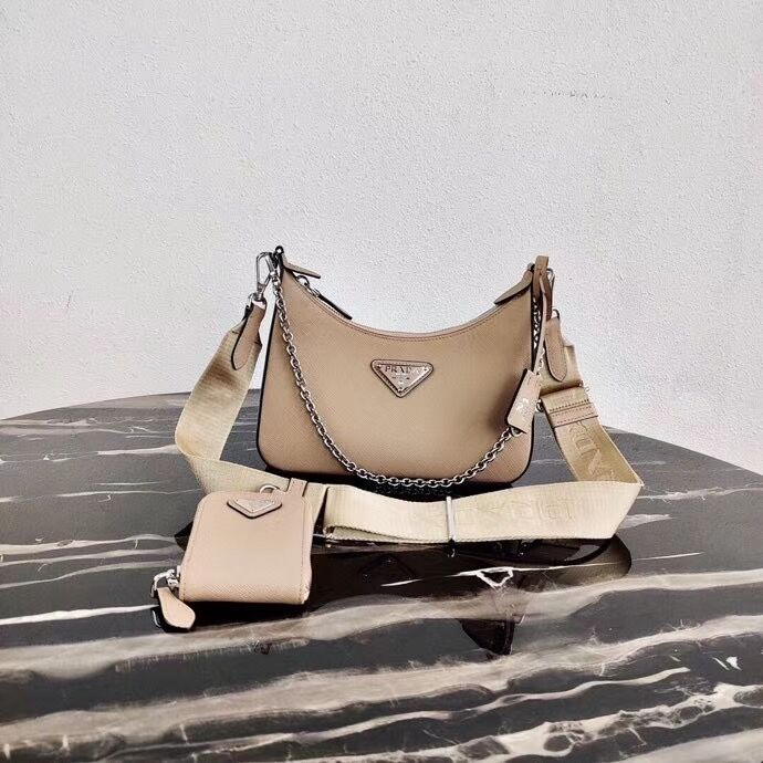 Prada Saffiano leather mini shoulder bag 2BH204 apricot