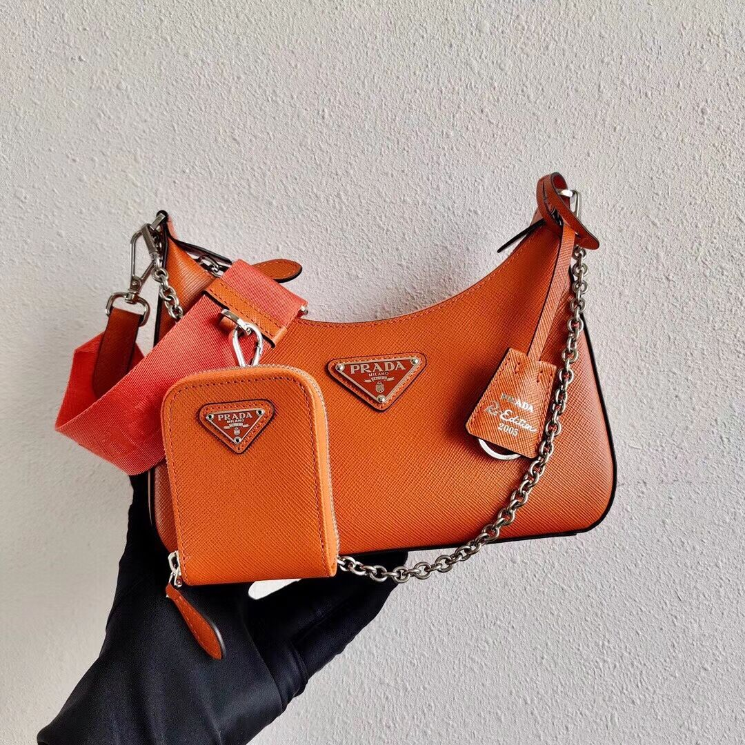 Prada Saffiano leather mini shoulder bag 2BH204 orange