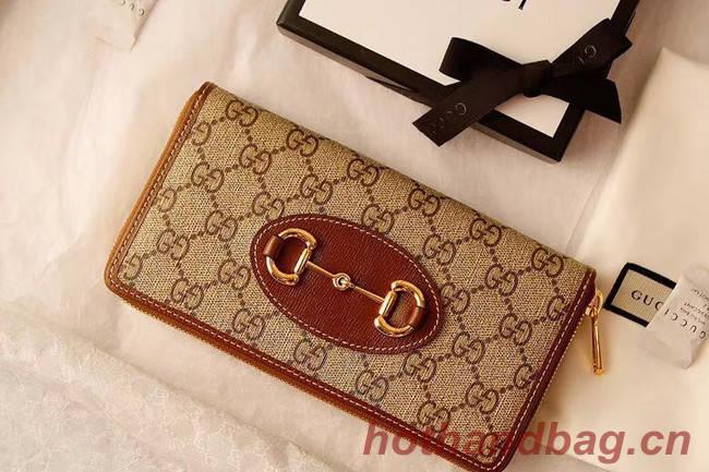 Gucci Horsebit 1955 zip around wallet 621889 brown