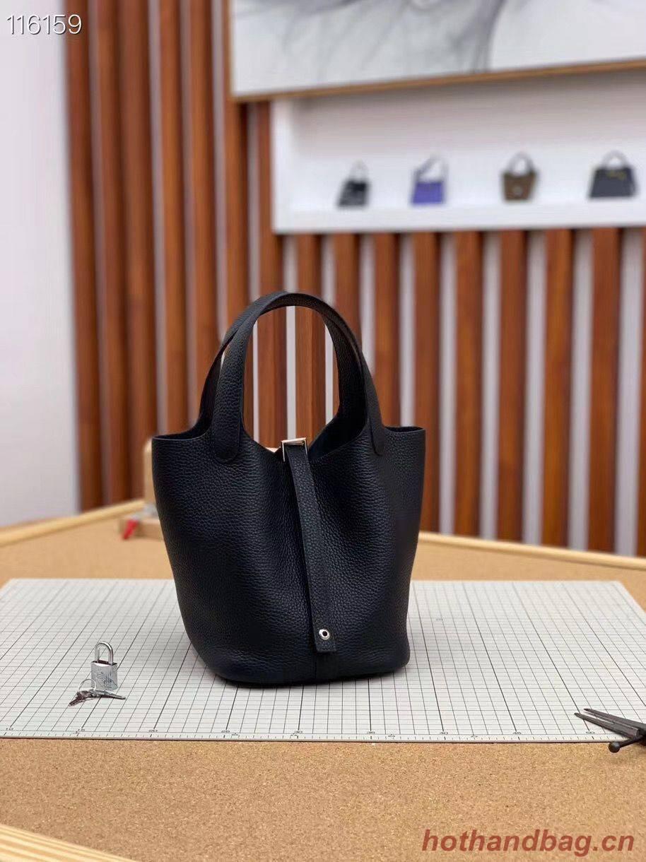 Hermes Picotin Lock 22cm Bags Original Litchi Leather HPL1048 Black