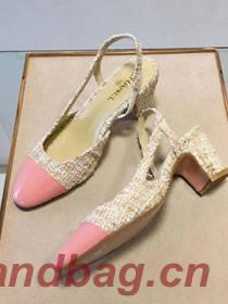 Chanel tweed slingbacks 55mm heel G31318 beige&pink