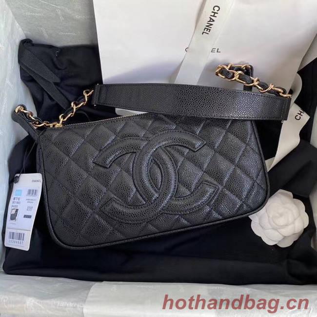 Fashion Chanel Original Caviar Leather Classic Bag 36988 black