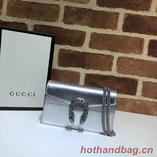 Gucci Dionysus Leather Super mini Bag 476432 silver