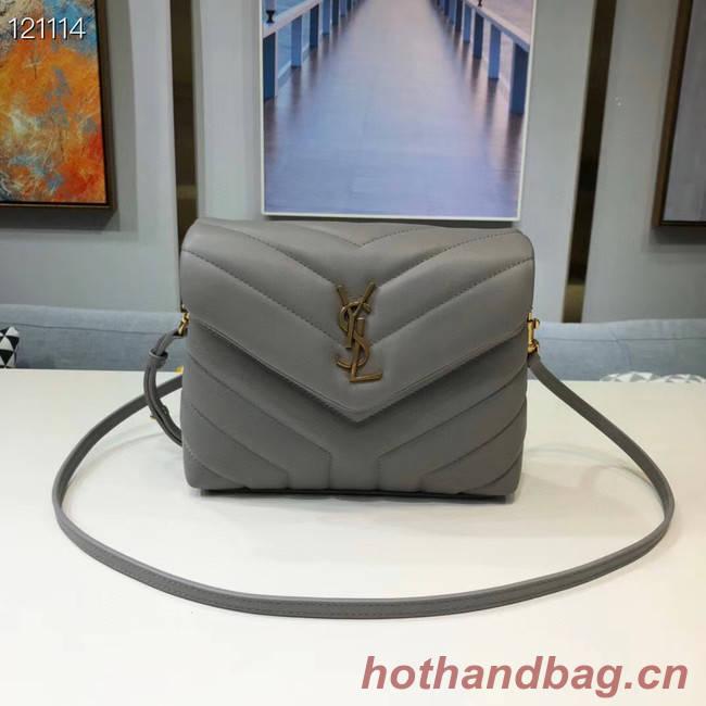 Yves Saint Laurent Calfskin Leather Tote Bag 467072 grey