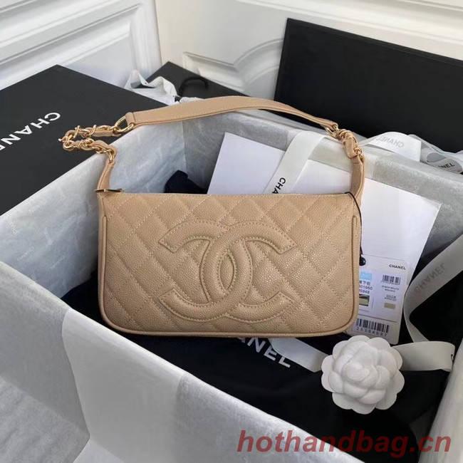 Fashion Chanel Original Caviar Leather Classic Bag 36988 Beige