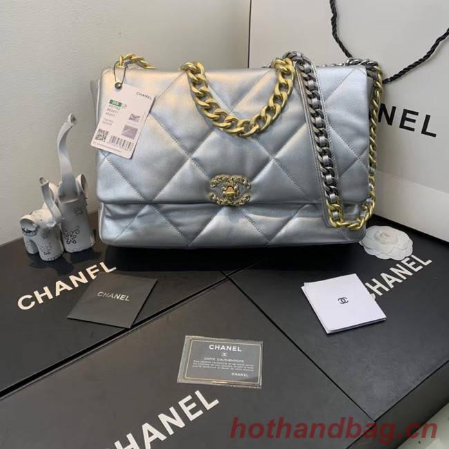 Chanel 19 flap bag AS1161 silver