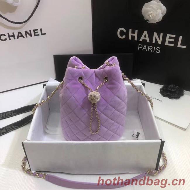 Chanel velvet Drawstring bag AS1894 Lavender