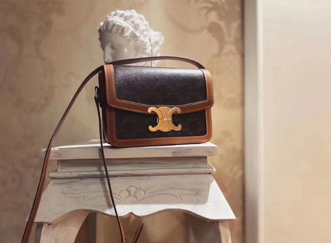 Celine TEEN TRIOMPHE BAG IN TRIOMPHE CANVAS AND CALFSKIN CL87368 TAN