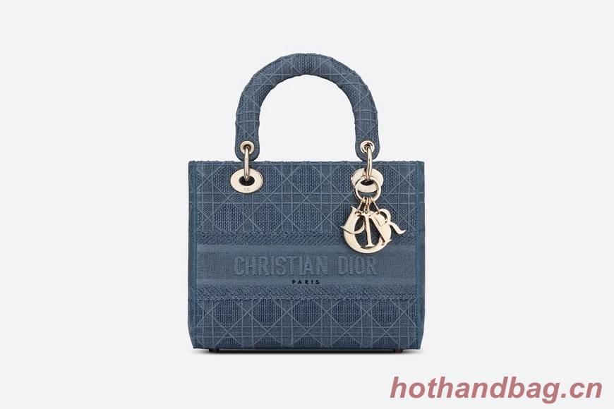 DIOR MEDIUM LADY D-LITE BAG Dark Denim Blue Cannage Embroidery M0565OREY