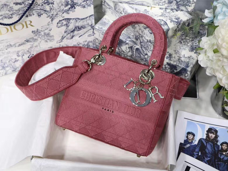 DIOR MEDIUM LADY D-LITE BAG Mallow Rose Cannage Embroidery M0565OREY