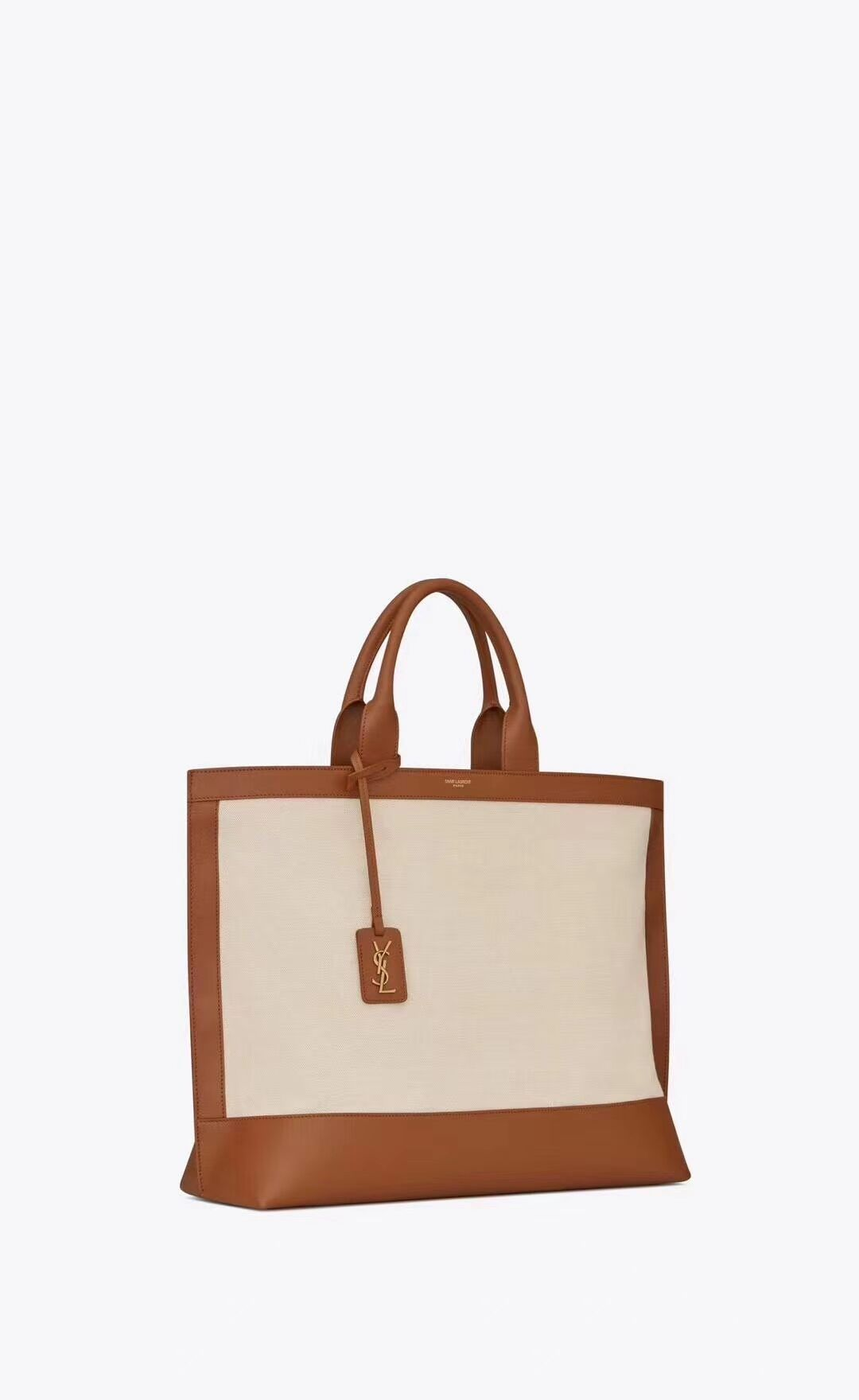 Yves Saint Laurent CANVAS tote bag Y615719 brown&white