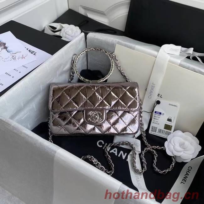 Chanel Flap Original Lambskin Leather Shoulder Bag AS1665 silver