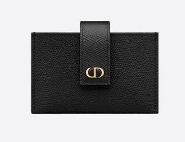 DIOR 30 MONTAIGNE 5-GUSSET CARD HOLDER Grained Calfskin S2058 Black