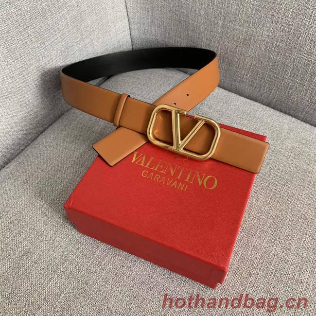 Valentino Leather Belt wide 4.0CM 3598 brown