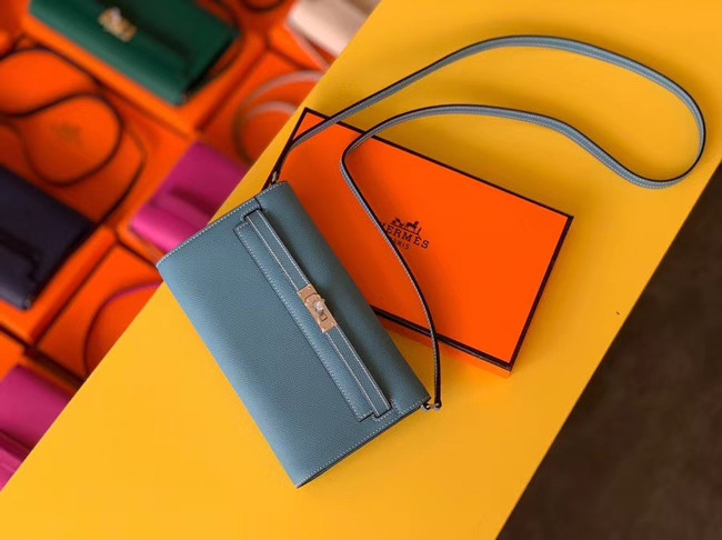 Hermes Original kelly espom leather to go woc Bag H4087 sky blue