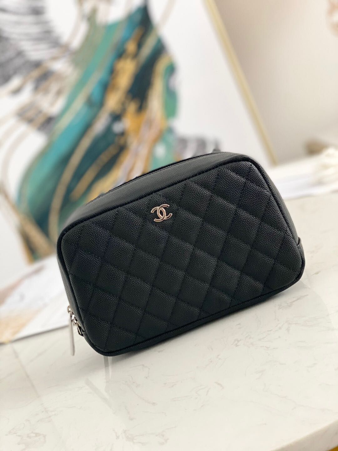 Chanel Caviar Quilted Curvy Pouch Cosmetic Case 220597 Black