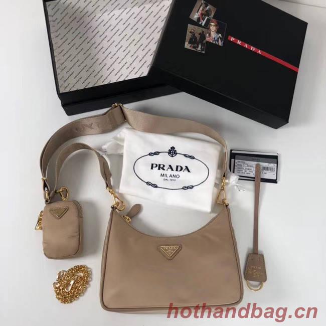 Prada Re-Edition nylon shoulder bag 1BH204 apricot