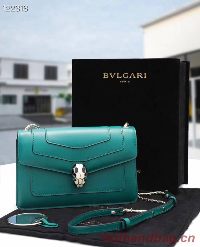 Bvlgari Serpenti Forever leather small crossbody bag 28090 Emerald