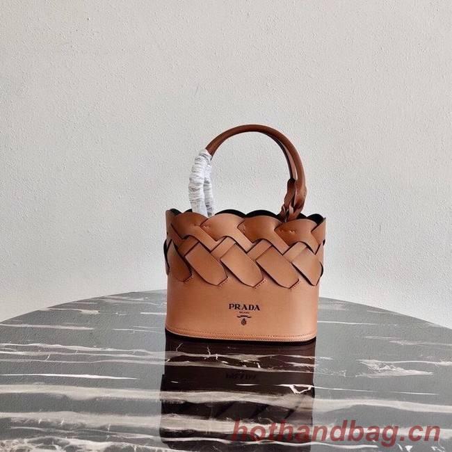 Prada Leather Tress Tote 1BG318 apricot