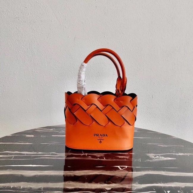 Prada Leather Tress Tote 1BG318 orange