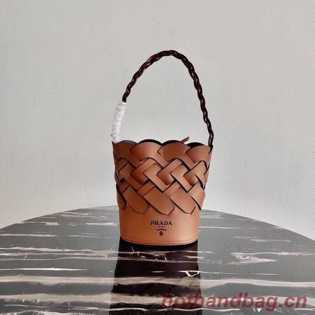 Prada Original Leather Woven Pattern Bucket Bag 1BG049 apricot