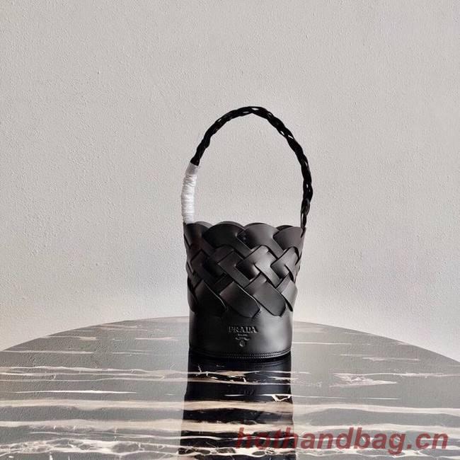 Prada Original Leather Woven Pattern Bucket Bag 1BG049 black