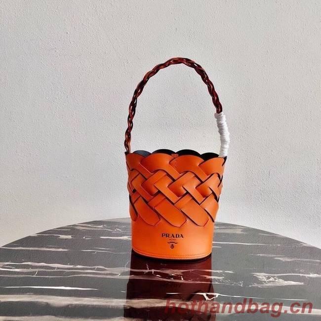 Prada Original Leather Woven Pattern Bucket Bag 1BG049 orange