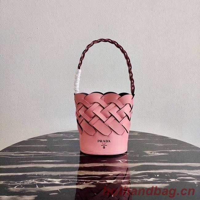 Prada Original Leather Woven Pattern Bucket Bag 1BG049 pink