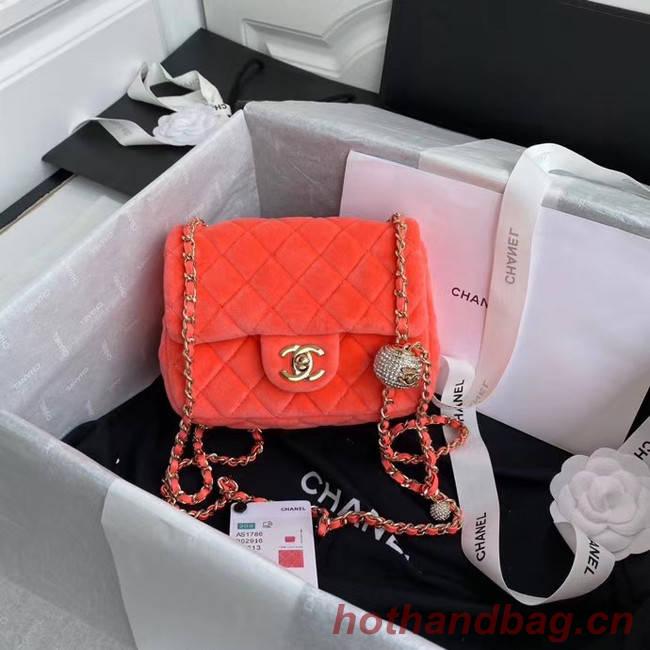 Chanel Original Small velvet flap bag AS1115 orange