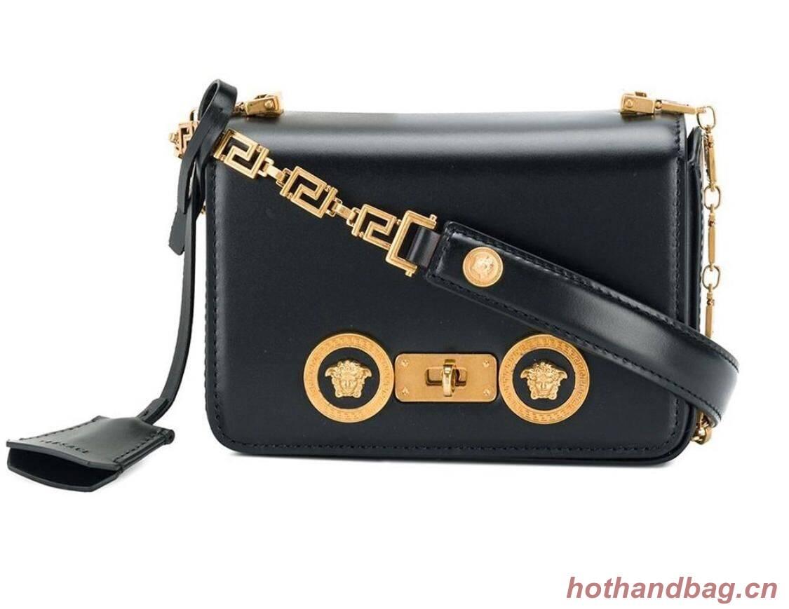 Versace Calfskin Leather Shoulder Bag VS199 Black