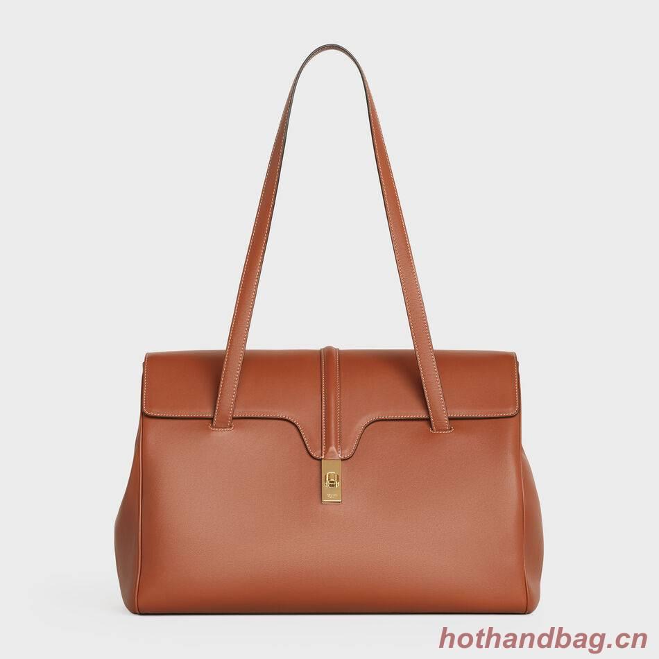Celine LARGE SOFT 16 BAG IN SUPPLE GRAINED CALFSKIN 194043 Brown