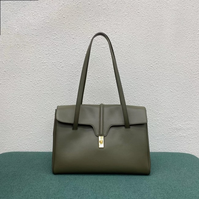 Celine LARGE SOFT 16 BAG IN SUPPLE GRAINED CALFSKIN 194043 green