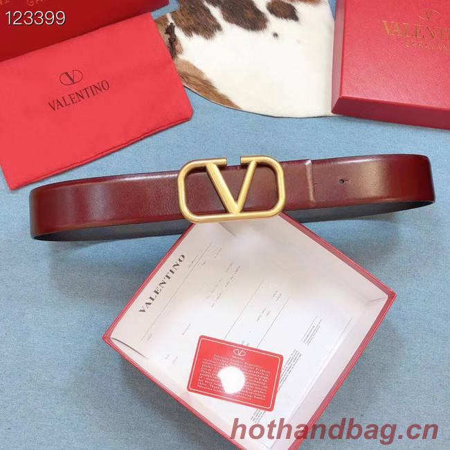 Valentino Original Calf Leather Belt wide 4.0CM 3603 Wine