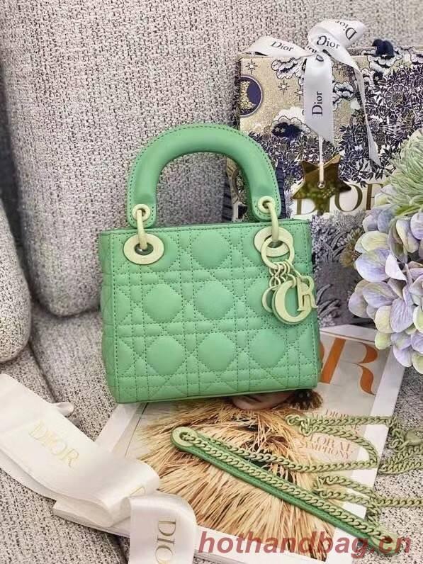 Dior Lady Dior Bag Original Sheepskin Leather CD5501 green
