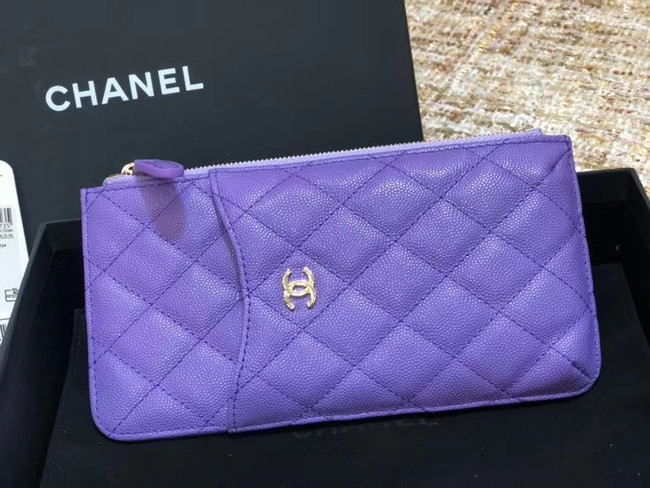 Chanel Calfskin Leather Card packet & Gold-Tone Metal A81598 Lavender
