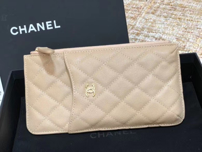 Chanel Calfskin Leather Card packet & Gold-Tone Metal A81598 beige